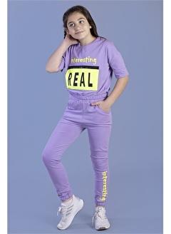 Toontoy Kids Toontoy Kız Çocuk Crop Model Cep Detaylı Baskılı Eşofman Takımı